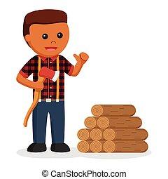 African lumberjack with wood logs