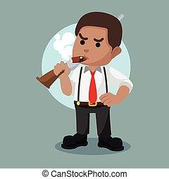 African mafia guy holding shotgun