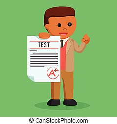African male teacher giving a plus grade
