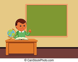 African male teacher in class room