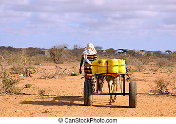 african male with horse-drawn carriage carrying water to the...