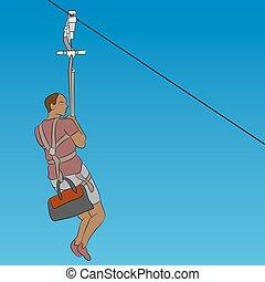 African male zip line rider