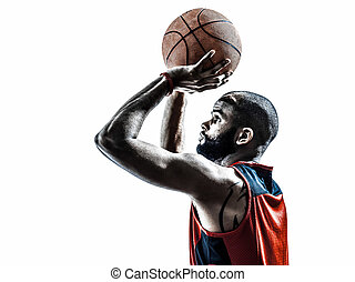 african man basketball player free throw silhouette - one ...