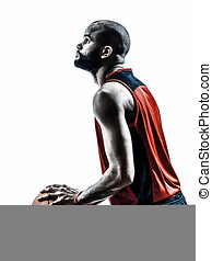 african man basketball player free throw silhouette