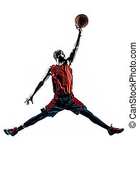 african man basketball player jumping dunking silhouette