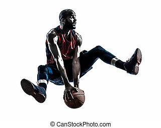 african man basketball player jumping silhouette