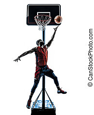 african man basketball player jumping throwing silhouette