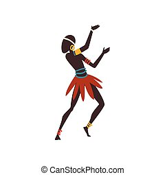 African Man Dancing Folk or Ritual Dance, Male Aboriginal Dancer in Bright Ornamented Ethnic Clothing Vector Illustration
