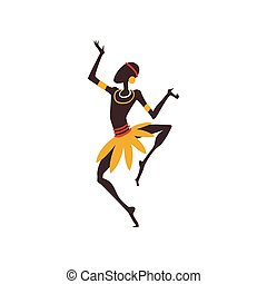 African Man Dancing, Male Aboriginal Dancer in Traditional Ethnic Clothing Vector Illustration