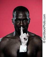 african man Freedom of speech concept - one african man hand...