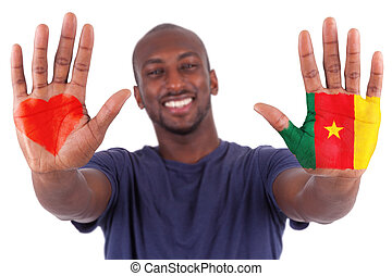 African man hands with a painted heart and cameroon flag, i love cameroon concept, isolated on white background