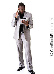 African man holding a tablet