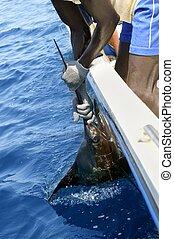 African man holding sailfish on sport fishing boat