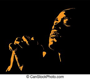 African Man is praying. Silhouette in backlight. Illustration.