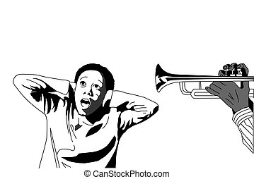 African man playing trumpet in boy'