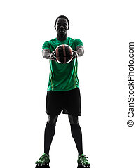 african man soccer player  holding showing football silhouette