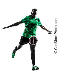 african man soccer player kicking silhouette