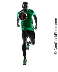 african man soccer player   running  silhouette