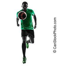 african man soccer player running silhouette