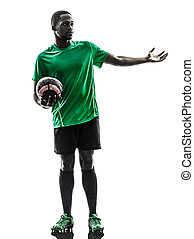 african man soccer player  silhouette