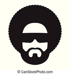 African man with afro hairstyle and sunglasses. Afro...