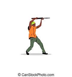African man with gun. Vector Illustration.