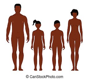 African man, woman, boy and girl. Human front side Silhouette. Isolated on White Background. Vector illustration