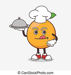 African Mangosteen cartoon mascot character as a Chef with food on tray ready to serve