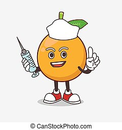 African Mangosteen cartoon mascot character as nurse with medical syringe