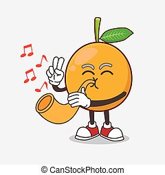 African Mangosteen cartoon mascot character playing music with trumpet