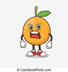 African Mangosteen cartoon mascot character with angry face