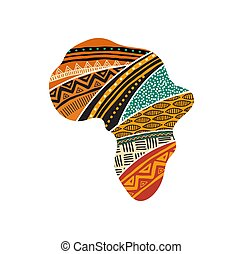 African map silhouette with a traditional pattern. Concept design and illustration