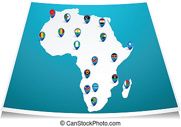 African map with flag pin