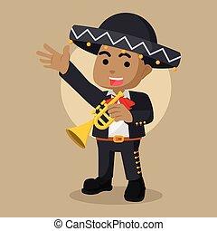 African mariachi trumpet illustration design