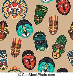 African mask seamless pattern