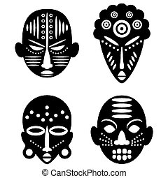 African Masks Isolated on White. Vector icons for tribal...