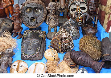 African masks - Traditional african masks in a market stall