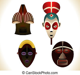 African masks - Set of four african masks. Linear and Radial...