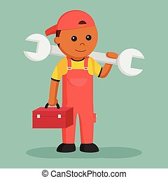African mechanic with big wrench and tool box