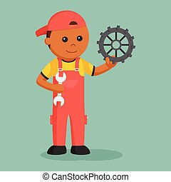 African mechanic with wrench and gear
