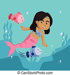 African mermaid girl playing with fish
