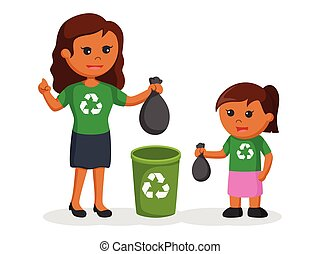 African mother teaching her daughter to put litter to bin