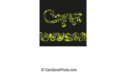 African motives floral lizard background