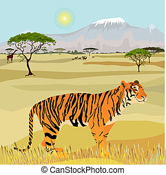 African Mountain idealistic landscape with tiger