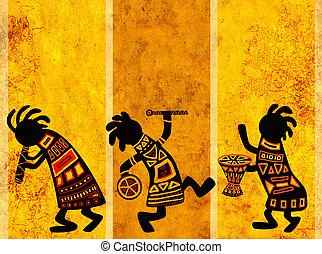 African national patterns - Dancing musicians. African ...