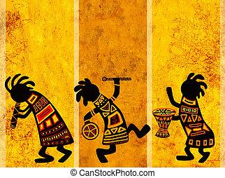 African national patterns - Dancing musicians. African ...