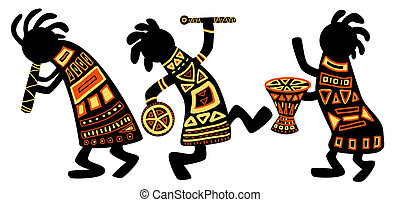 African national patterns - Dancing musicians. African...