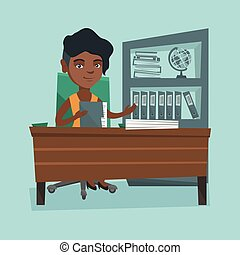African office worker working with documents.