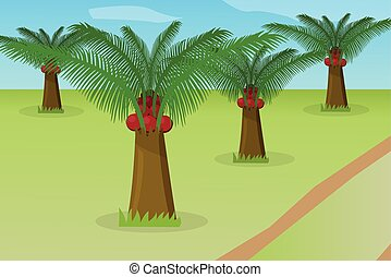 African oil palm field, vector