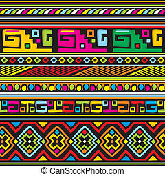african pattern - seamless vector background with color...